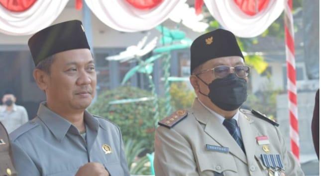 Ketua DPRD Kota Blitar, Dr Syahrul Alim Saat Upacara Harlah Pancasila bersama Walikota Blitar, Santoso